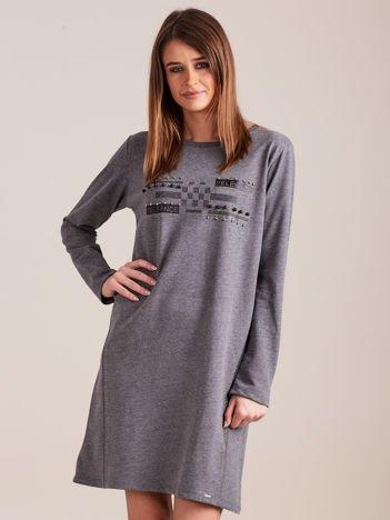 Ciemnoszara dresowa sukienka z aplikacją