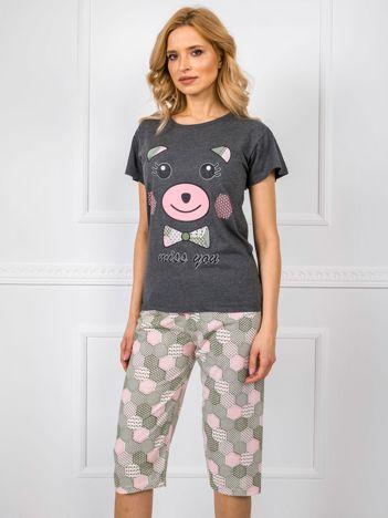Ciemnoszara dwuczęściowa piżama z nadrukiem