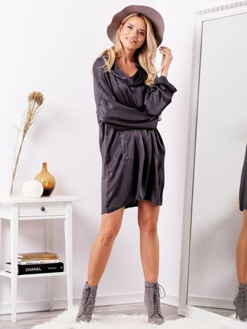 Ciemnoszara luźna sukienka z jedwabiem