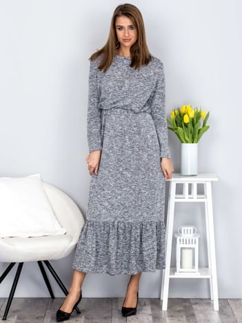 Ciemnoszara melanżowa sukienka maxi z falbaną