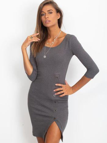 Ciemnoszara prążkowana sukienka z rozcięciem