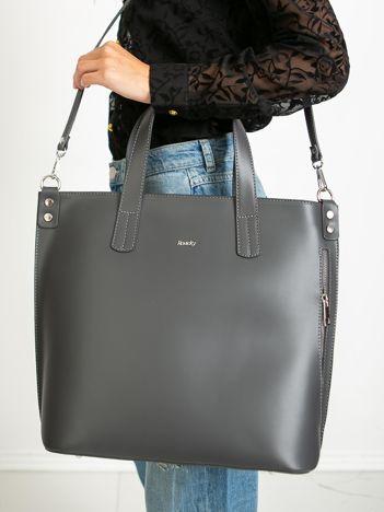 Ciemnoszara skórzana torba damska