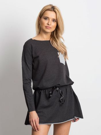 Ciemnoszara sukienka dresowa z obniżonym stanem