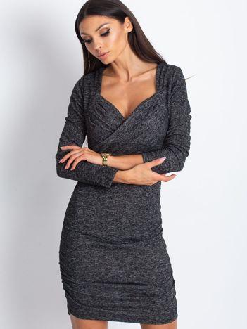 Ciemnoszara sukienka dzianinowa