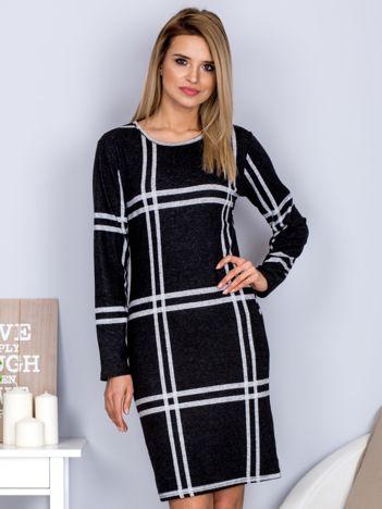 Ciemnoszara sukienka w szeroką kratę