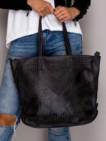 Ciemnoszara torba w tłoczony geometryczny wzór