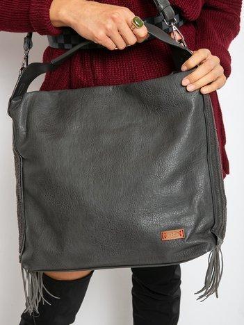 Ciemnoszara torba z frędzlami