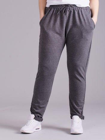 Ciemnoszare bawełniane damskie spodnie dresowe PLUS SIZE