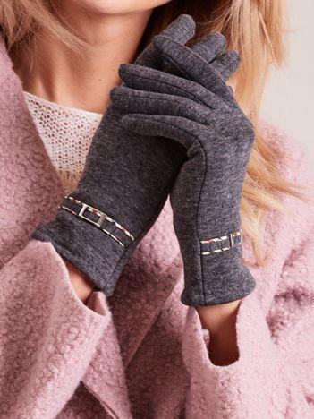 Ciemnoszare klasyczne rękawiczki z klamerką
