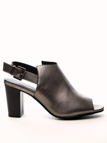 Ciemnoszare metaliczne sandały SABATINA na szerokim słupku