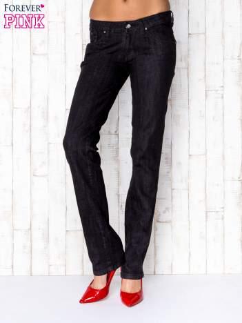 Ciemnoszare przecierane spodnie jeansowe z suwakami