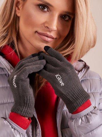 Ciemnoszare rękawiczki do ekranów dotykowych