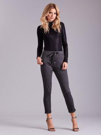 Ciemnoszare spodnie damskie z troczkami