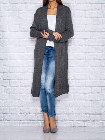 Ciemnoszary długi wełniany sweter