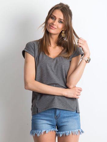 Ciemnoszary melanżowy t-shirt Vibes