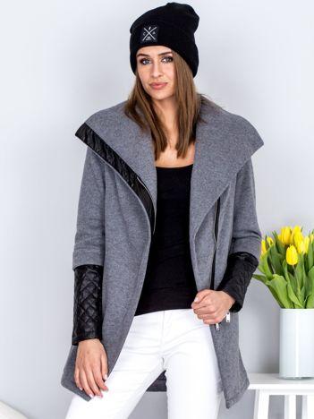 Ciemnoszary płaszcz dresowy z pikowanymi rękawami