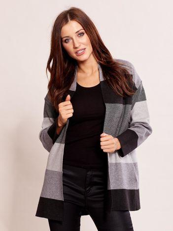 Ciemnoszary sweter damski w pasy