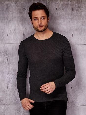 Ciemnoszary sweter męski z modułem w prążki