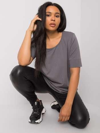 Ciemnoszary t-shirt bawełniany plus size Missy