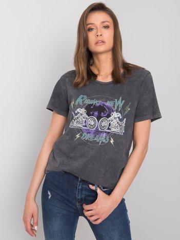 Ciemnoszary t-shirt z nadrukiem Krystal RUE PARIS
