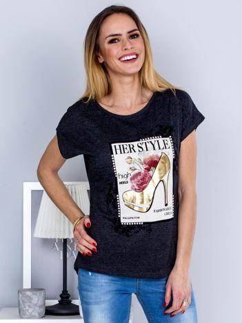 Ciemnoszary t-shirt z nadrukiem szpilki