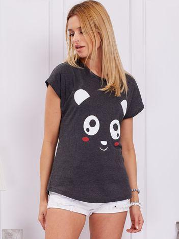 Ciemnoszary t-shirt z pandą