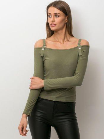 Ciemnozielona bluzka damska cut out