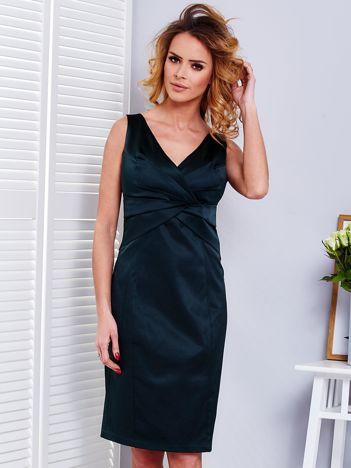 Ciemnozielona sukienka V-neck