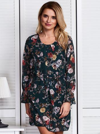 Ciemnozielona zwiewna sukienka floral print