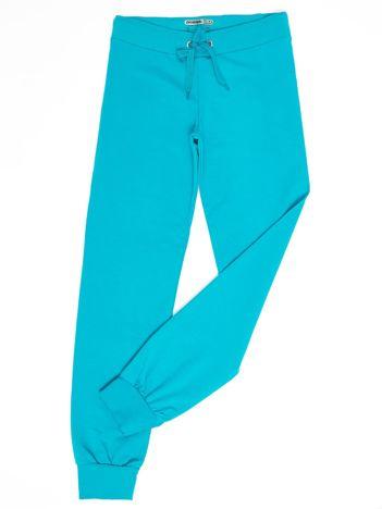 Ciemnozielone dresowe spodnie dziecięce z troczkami