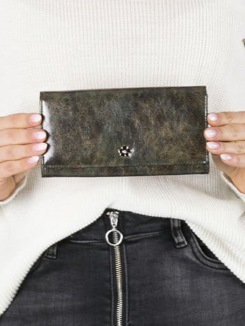 Ciemnozielony podłużny portfel skórzany