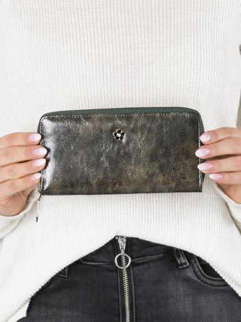 Ciemnozielony skórzany portfel na suwak