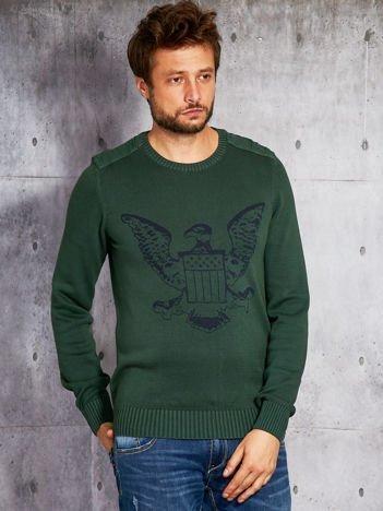 Ciemnozielony sweter męski z orłem