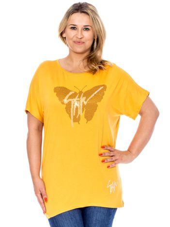 Ciemnożółta bluzka z motylem z dżetów PLUS SIZE