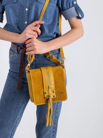 Ciemnożółta mała torebka skórzana