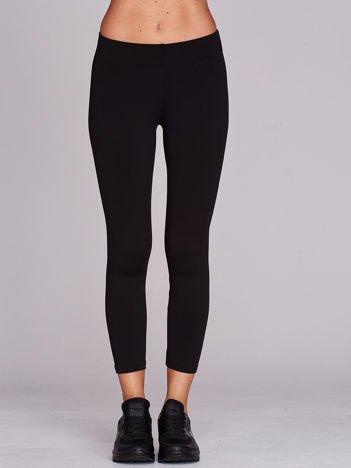 Cienkie legginsy sportowe o długości 3/4 czarne
