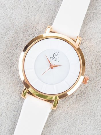 Classy elegancki biały zegarek damski