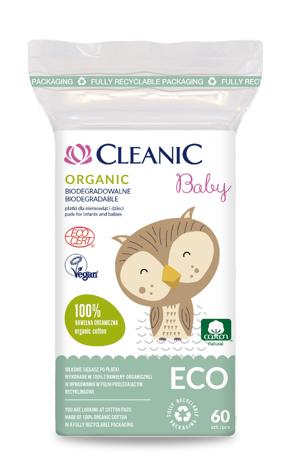"""Cleanic Baby Eco Płatki dla niemowląt i dzieci Organic - biodegradowalne  1op.-60szt"""""""