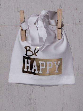 """Czapeczka niemowlęca przejściowa elastyczna z metalicznym złotym nadrukiem """"be happy""""biała"""