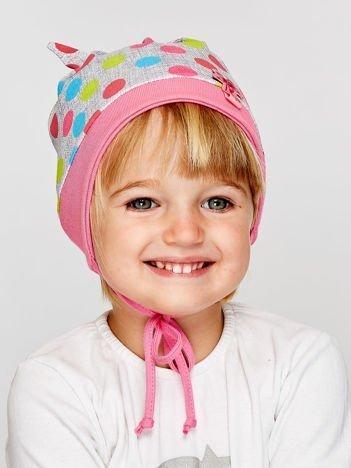 Czapka dziewczęca w kolorowe grochy z wiązaniami szara