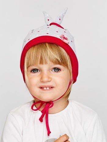 Czapka dziewczęca w kropeczki z wiązaniami szara