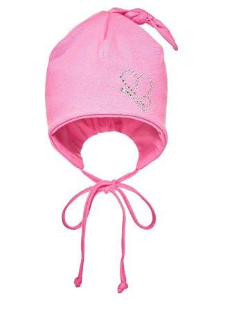 Czapka dziewczęca z aplikacją z dżetów różowa