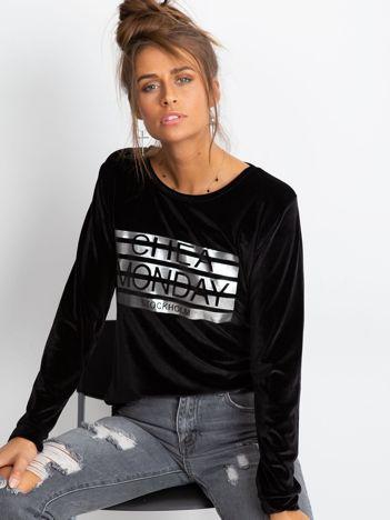 Czarna aksamitna bluza ze srebrnym nadrukiem