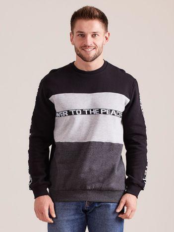 Czarna bawełniana bluza męska z napisami