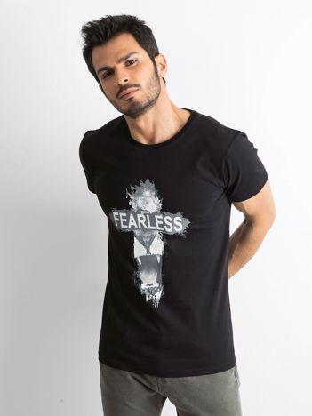 Czarna bawełniana koszulka męska z nadrukiem