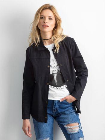 Czarna bawełniana kurtka oversize z napisem