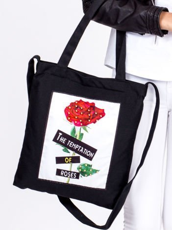 Czarna bawełniana torba z naszywką róży i perełkami