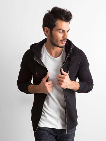 Czarna bluza męska rozpinana z kapturem