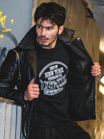 Czarna bluza męska z napisem
