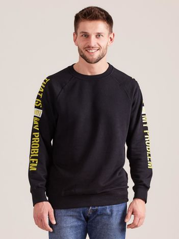 Czarna bluza męska z napisem na rękawach